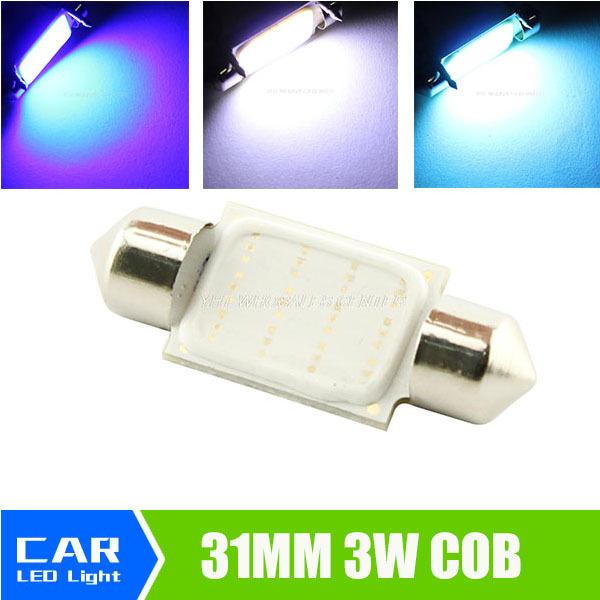 31mm Dome Festoon COB LED 3W 12smd leds Car Reading Lamp Light Crystal Blue White Lights DC 12V 211-2 578 212-2 Bulb(China (Mainland))