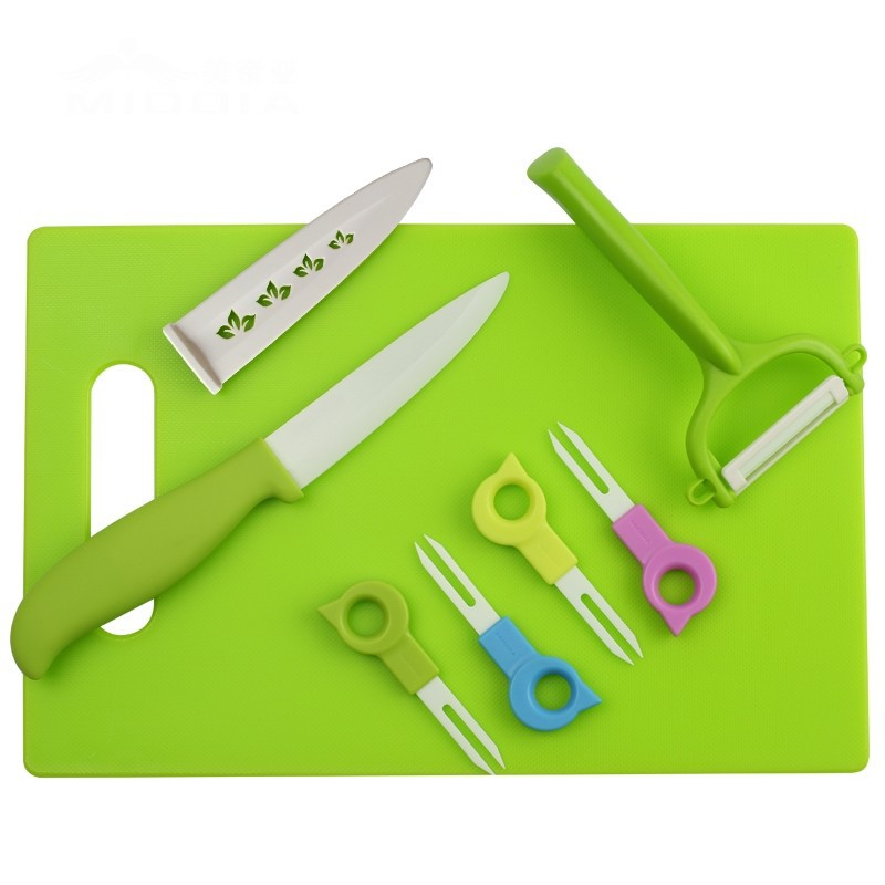 Buy Middia 8pcs ceramic kitchen knife set for fruit tool set with ceramic knife ceramic fruit forks  chopping board cheap