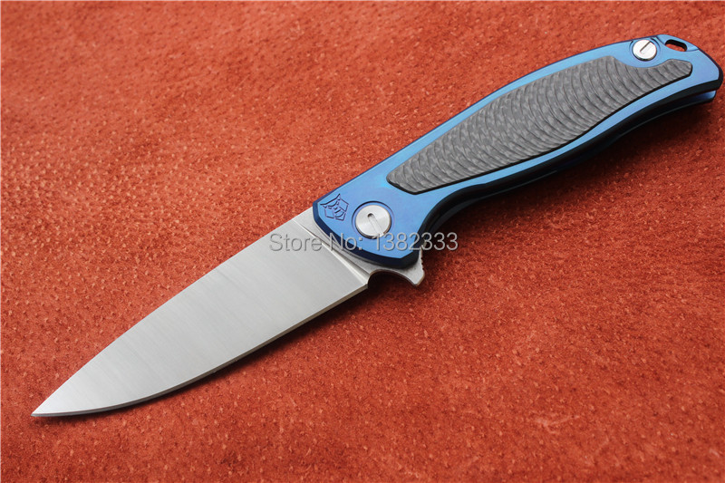 Free shipping, Shirogorov95 outdoor folding knife, blade material 9Cr18Mov and handle material TC4+ carbon fiber .High quality!(China (Mainland))