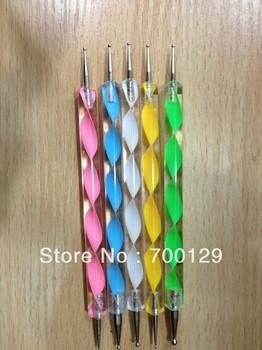 Hot Sell 5pcs 2 Way Nail Art Dotting Manicure Tool Painting Marbleizing Pen