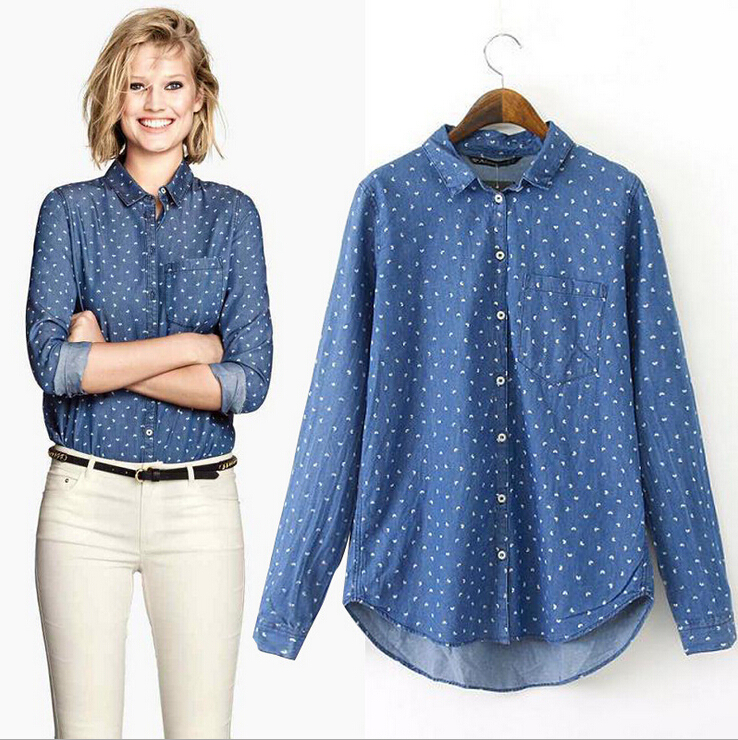 Printed jean shirt women denim shirt long sleeves blouses for Blue denim shirt for womens