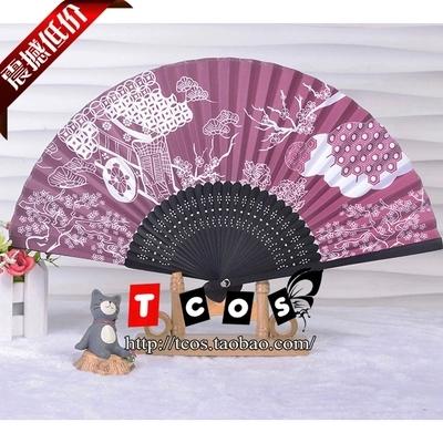 Cosplay Touhou Project Saigyouji Yuyuko Hand Fan Folding Fan Paper Fan Lace Fan Free Shipping(China (Mainland))