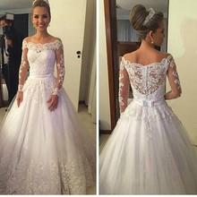 Buy Vestido De Noiva 2017 Sheer Long Sleeve A-line Lace Wedding Dresses Shoulder Bridal Wedding Gowns Custom Robe De Mariage for $153.37 in AliExpress store