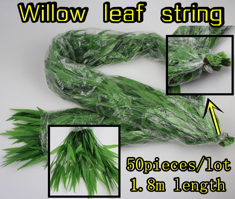 (50 pieces/lot) Plastic plant green leaf string Willow leaves hanging decoration Artificial flower furnished plants 1.8 meters - Greenstyles store