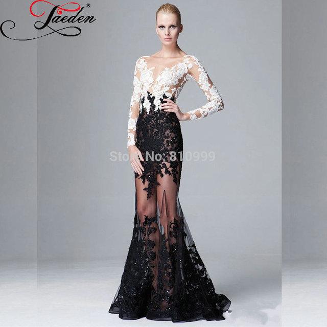 Jaeden сексуальная длинные рукава белый и черный блесток бусины элегантные вечерние ...