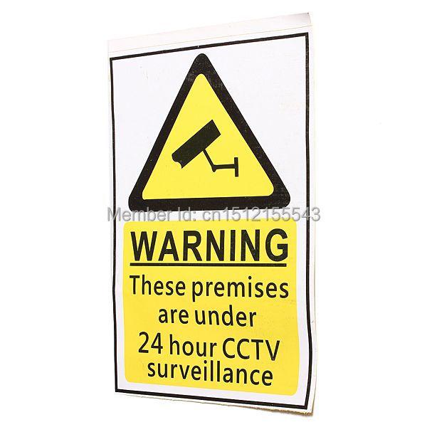 Гаджет  New Design 4 pcs 24 Hour CCTV Security Surveillance Stickers Camera Warning Signs Decals Free Shipping None Безопасность и защита