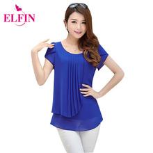 Women Blouses 2016 Summer Women Shirt Short Casual Loose Blouses O-Neck Blusas Femininas LR0089R