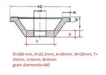En forma personalizada electrochapado diamante muela muela de diamante 100 * 22.2 * 45 * 20 * 15 * 5 * 5