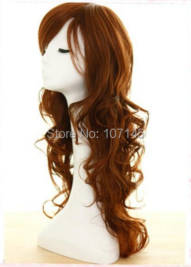 Freeshipping 2014 Brand New Kanekalon Synthetic Hair Black Long Curly Cosplay Beautiful Wig Bangs Full Lace Wigs Sale - H&C Fashion Store store