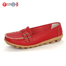 2016 Shoes Woman Genuine Leather Women Shoes Flats 8 Colors Buckle Loafers Slip On Women's Flat Shoes Moccasins Plus Size(China (Mainland))