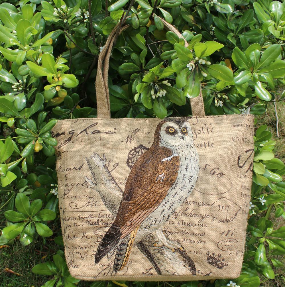 VEZO HOME jute tote bag ladies women girl fashion casual embroideried brown owl bags handbags tote shoulder bag casual bag(China (Mainland))
