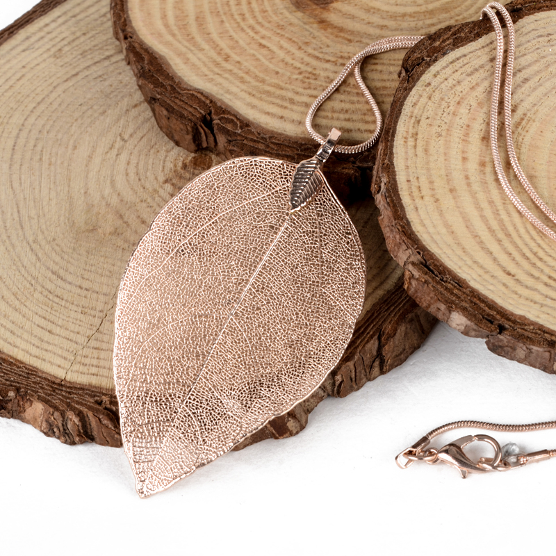 Women Fashion Unique Necklace Jewelry Charm Pink Black Gold Leaves Real Nature Leaf Pendant Long Sweater Statement Necklace