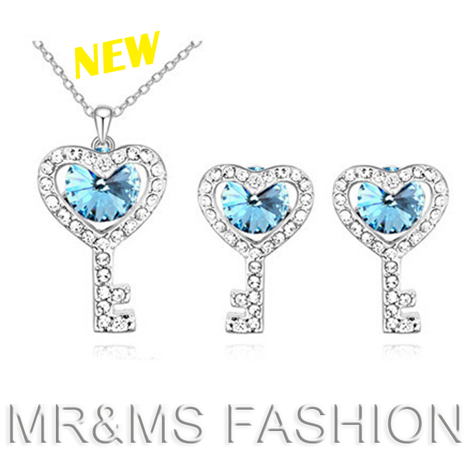 Factory hot sales high quality full rhinestone silver plated key heart necklace earrings south korean jewelry set 8227(China (Mainland))