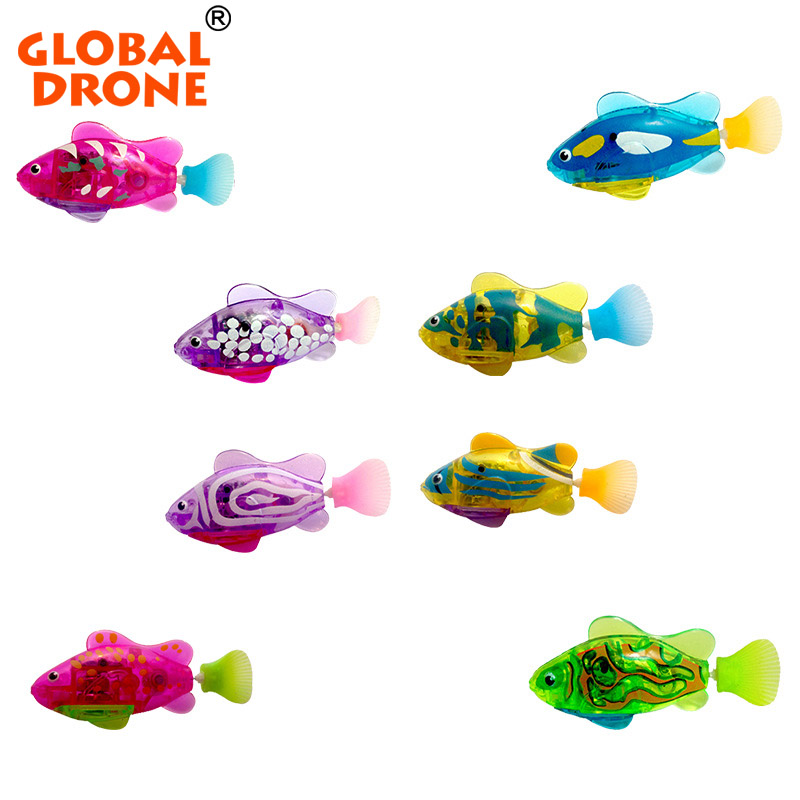 Global Drone 1pc Swimming Led Light Fish Activated Battery Powered Robot Fish Bathroom Toys Bathing Water Toys(China (Mainland))