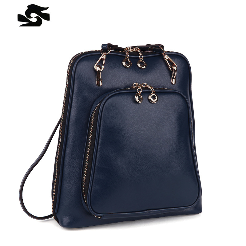 2016 New Style School Backpacks Colorful Genuine Leather Women Brand Bags Fashion Preppy Style Girl Bag<br><br>Aliexpress