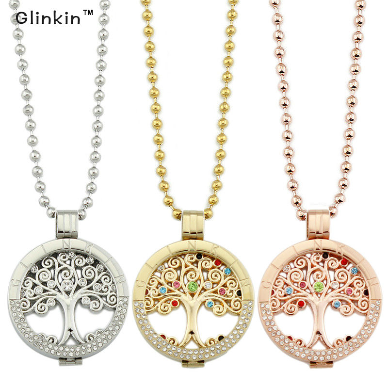 Glinkin Jewelry Rose Gold Tree of Life Coin Stainless Steel Pendant Necklace from the Collection of Moneda Jewelry(China (Mainland))