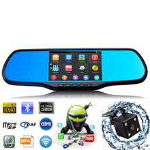 Universal 2 Lens 5 Inch 1080P Android 4.4 Car Rearview Mirror DVR GPS Navigation WiFi Auto Vehicle DVR With Parking Camera(China (Mainland))