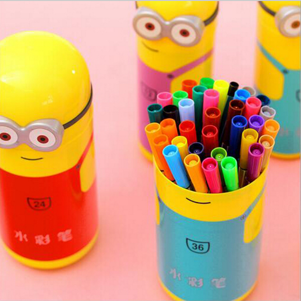 12/18/24/36 Color Stationery Set Coarse Thick Shaft Stamp Watercolor Pen Washable Graffiti Paintbrush Art Supplier For Children(China (Mainland))