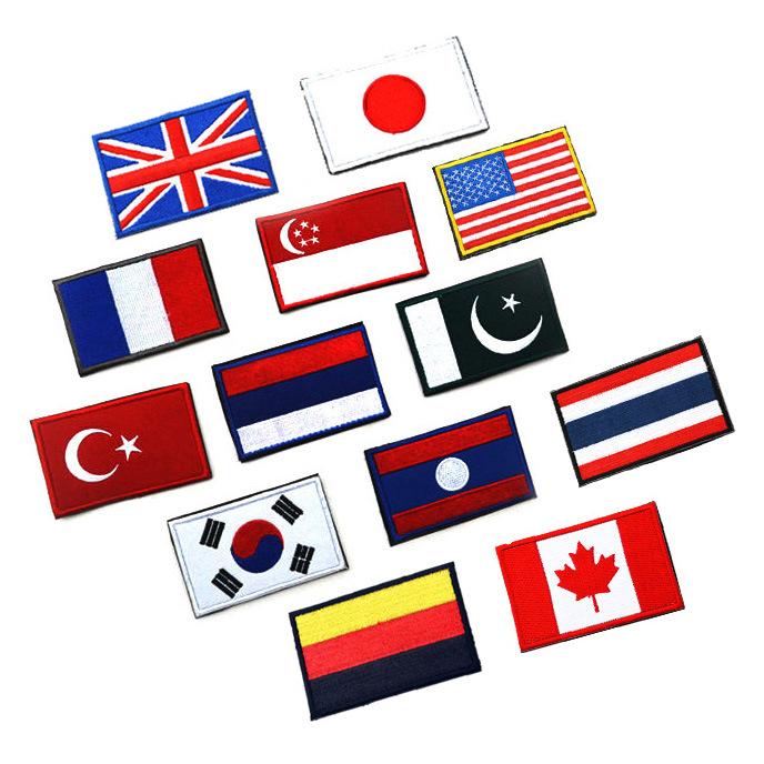 Pays drapeaux drapeau Américain patch brassard brodé tissu standard personnalisé Grande-Bretagne et Allemagne conception Badges(China (Mainland))