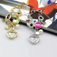 Wh007 moda pendiente de la pulsera del corazón cara del análogo de cuarzo de la muchacha de la muñeca de la gema catenaria de la mano del reloj para mujer relojes de primeras marcas