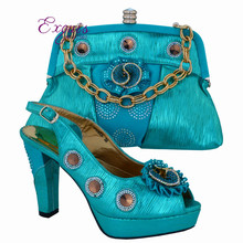 Sky blue,High class party sets Italian design shoes and bag African sandal matching with handbag sets for fashion lady CP63006(China (Mainland))