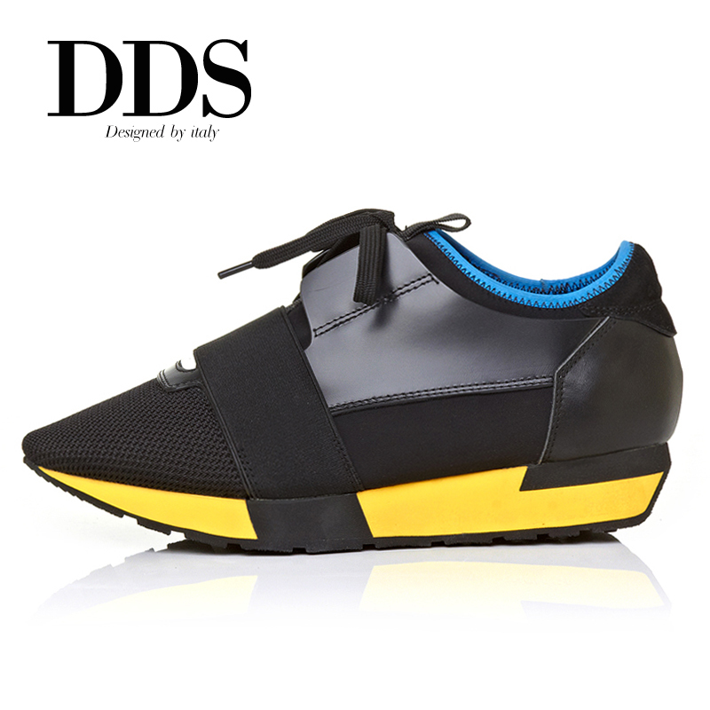 DDS Hot Sales Contrast Color Pointed Toe Genuine Leather And Mesh Women Fashion Sneakers Flat Heel Flats Breathable Shoes Woman(China (Mainland))