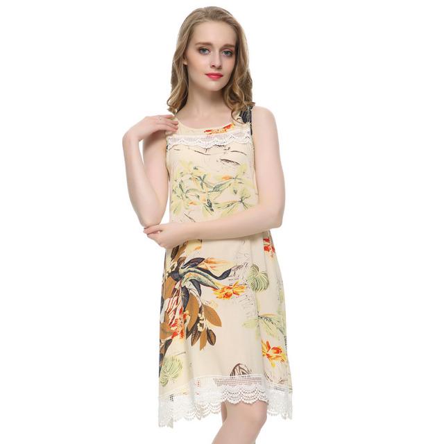 Женщины плюс размер кружева цветочные печати мини сдвиг Платье винтаж о образным ...