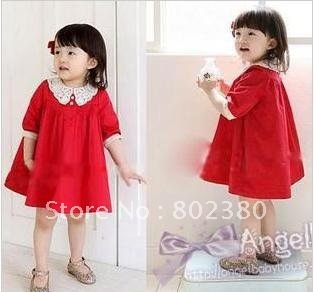 free shipping  - Girls Dress baby dress Children dress long sleeve girl dresses child one-piece dress baby clothes