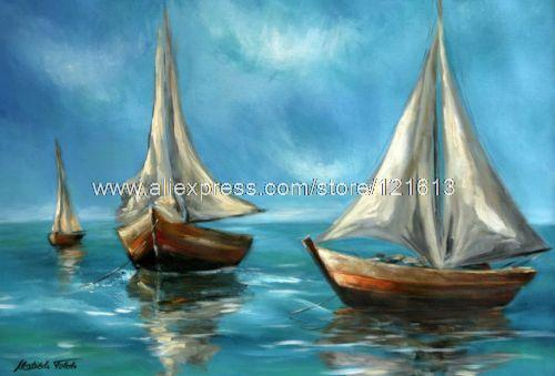 Boats At Rest Brazil Fine Art Orig Painting By Handmade Oil Paintings Home Decoration Items Wall Paintings Home Decor Beautifu(China (Mainland))