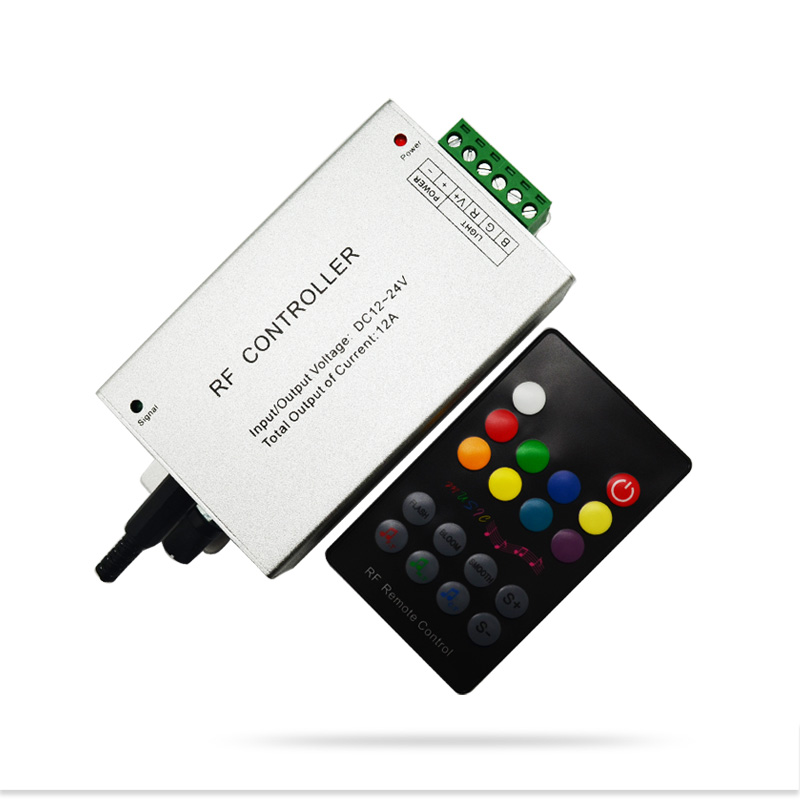18 Key RGB Led Music Controller DC12V 24V Audio Sound 3 Channel*4A 12A RF 433.92mhz Wireless Remote to Control Strip Light(China (Mainland))