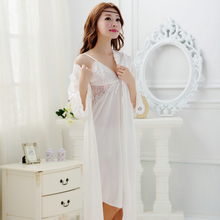 free shipping woman's pajamas sexy lace sleepwear female summer bathrobe female robe female nightgown twinset robe(China (Mainland))