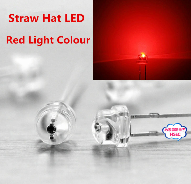 Free shipping 1000pcs 5mm (4.8mm) Straw Hat LED Red Light Emitting Diode 5MM Red Colour LED emitting diode(China (Mainland))