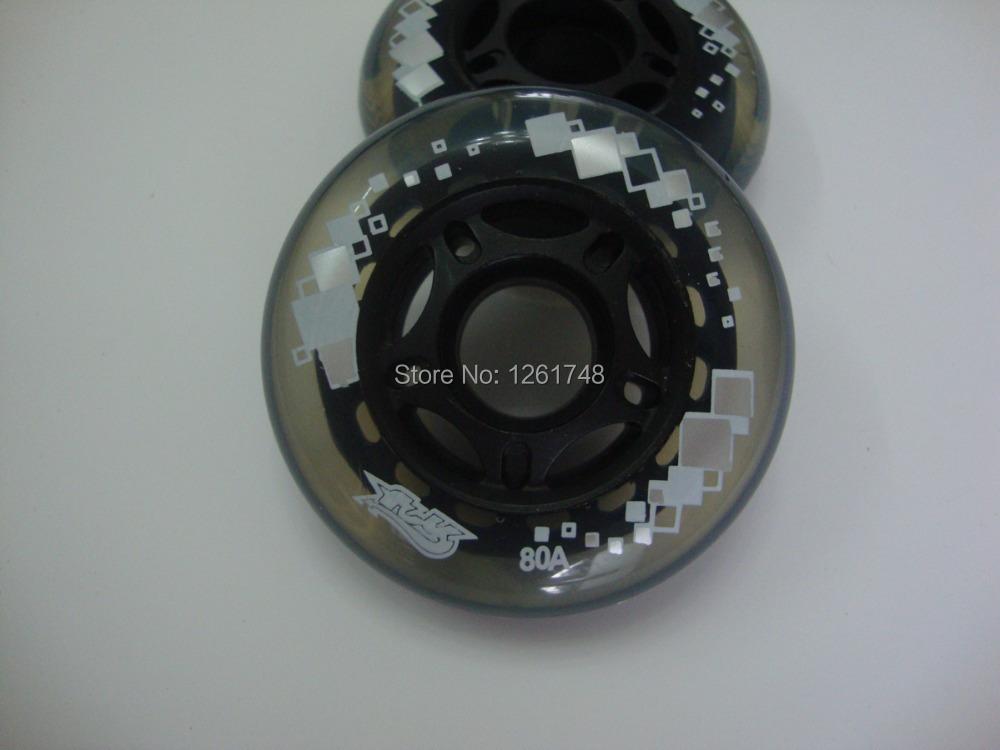 8 wheels! Free shipping! Skate wheels / Transparent PU roller wheel 76 mm 80a(China (Mainland))