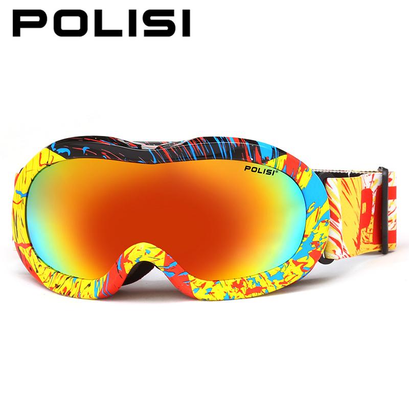 POLISI Children Kids Winter Ski Goggles Outdoor Sport Snowmobile Snowboard Skate Snow Glasses Polarized Anti-Fog Skiing Eyewear
