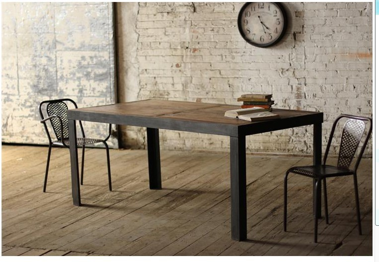 American Village loft old pine table desk Iron French Table Coffee Table Coffee Table Welding Videos(China (Mainland))