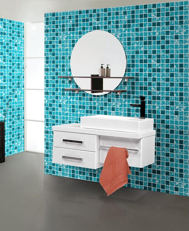 Cozinha banheiro pvc auto aderente papel de parede prova for Pegatinas decorativas para azulejos cocina