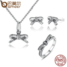 BAMOER Authentic 925 Sterling Silver Sparkling Bow Knot Stackable Ring Jewelry Sets Sterling Silver Jewelry ZHS022(China (Mainland))