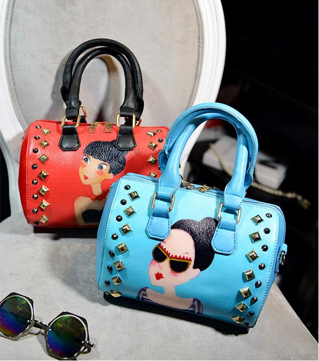 Fashion Rivet Handbag Female Make Up Bags PU Leather Shoulder Bags Korean Style Women Messenger Bags Cute Blosas Feminina(China (Mainland))