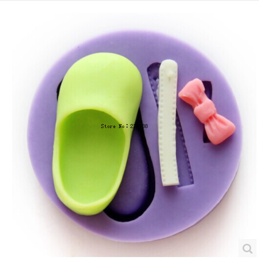 Baking Tools / baby infant shoes bow silicone resin mold fondant cake mould Fimo clay mold wholesale F193(China (Mainland))