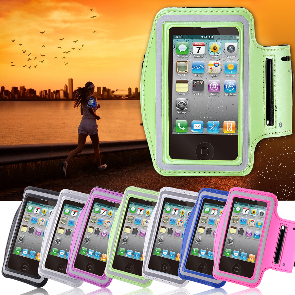 iphone4 4S 4G Waterproof PU Leather Brush Workout Sport Gym Case Arm band Exercise Cover Running Cases apple iphone 4 - YXF Group CO.,LTD store