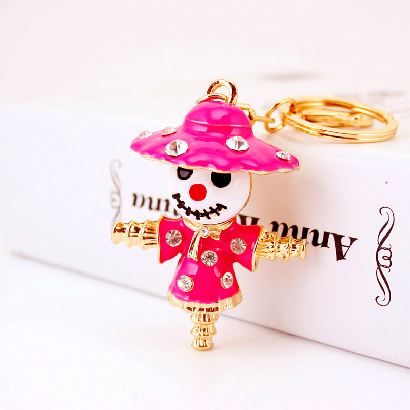 Novelty Enamel Scarecrow Bogy Crystal Keychains For Car Purse Bag Buckle Pendant Keyrings Women Jewelry Key Chains K256(China (Mainland))