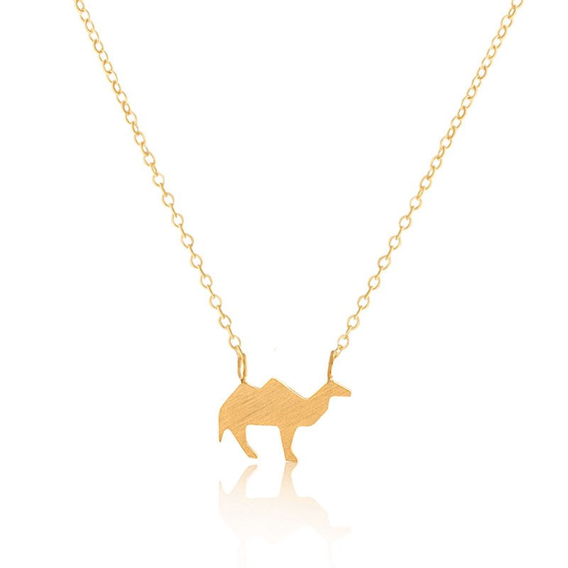 Fashion Jewelry Gold Plated Body Chains Stainless Steel Origami Desert Camel Maxi Necklaces Pendant For Women BFF Wedding Gift(China (Mainland))