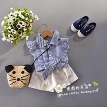 Baby girls clothing set plaite blouse shirt with whte pants bow shirt flat sleeve high quality