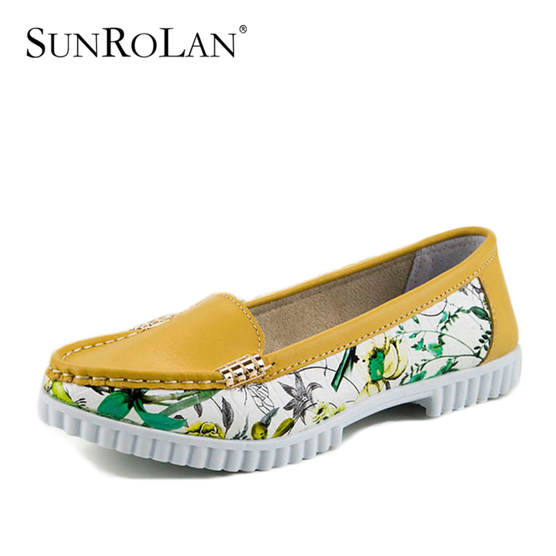 Spring pointed toe women genuine leather shoes woman flats new 2015 casual women's slip mixed color mother 3573 - SHOES COUNTRY store