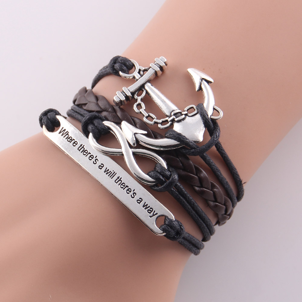(10 Pieces/Lot) Infinity Love Navy anchor charm leather bracelet wrap bracelets & bangles any color custom made drop shipping(China (Mainland))