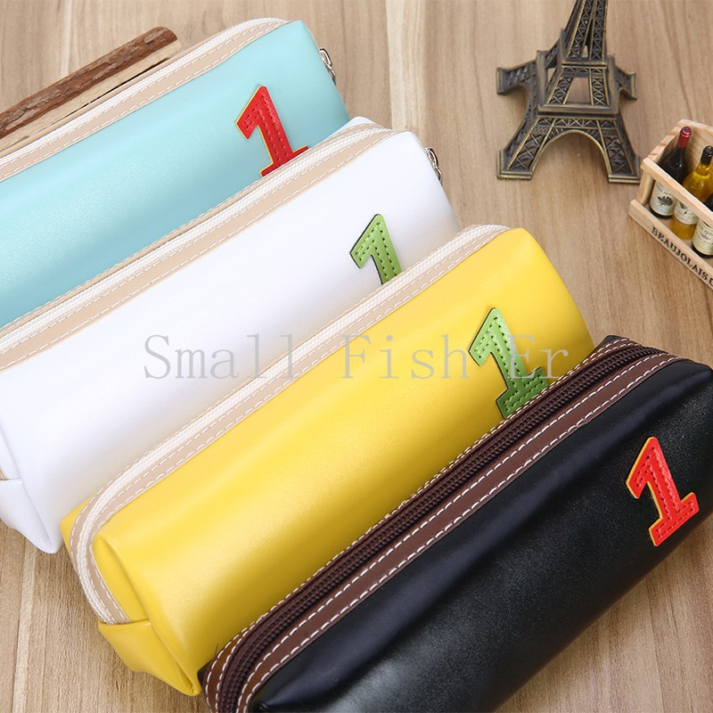 4pcs/lot Korea Stationery Candy colored leather pencil bagSimple and lovely students large capacity pencil case school supplies