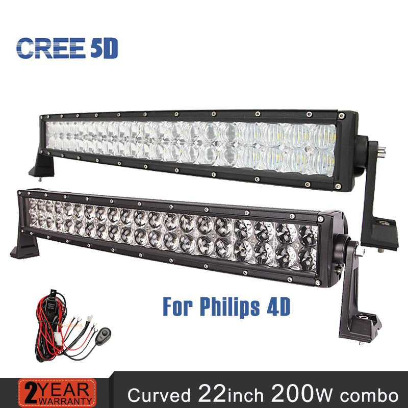 for Philips 4D/ CREE 5D Led Light Bar 22inch 200W curved offroad combo beam auto bar light Trailer Truck 4x4 4WD SUV ATV 12v 24v(China (Mainland))