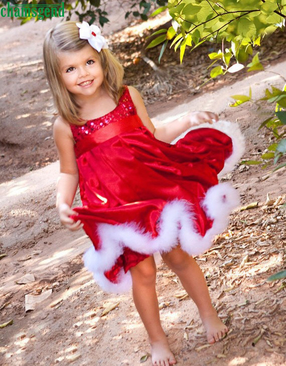 CHAMSGEND drop ship Summer Kids Cute Baby Girls Kids Christmas Party Red Paillette Dresses Xmas Gift Feb7 S35(China (Mainland))