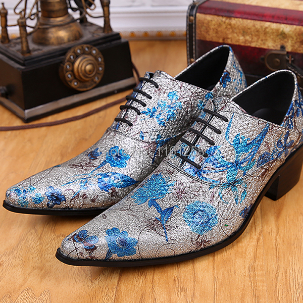 Blue print retro silver prong business casual shoes mens personality within hairstylist tide shoes mens leather shoes increase<br><br>Aliexpress