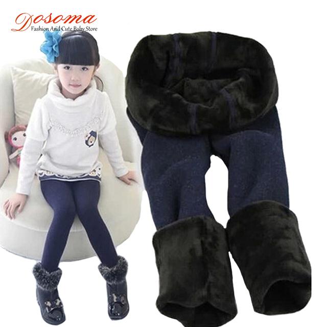 Новый зима весна мех леггинсы для девочек детские брюки дети толстые теплые эластичный пояс плюс бархат леггинсы брюки дети бесплатно размер